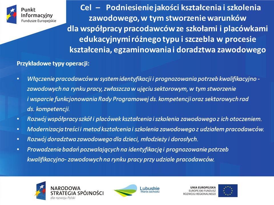 Cel – Podniesienie jakości kształcenia i szkolenia zawodowego, w tym stworzenie warunków dla współpracy pracodawców ze szkołami i placówkami edukacyjn
