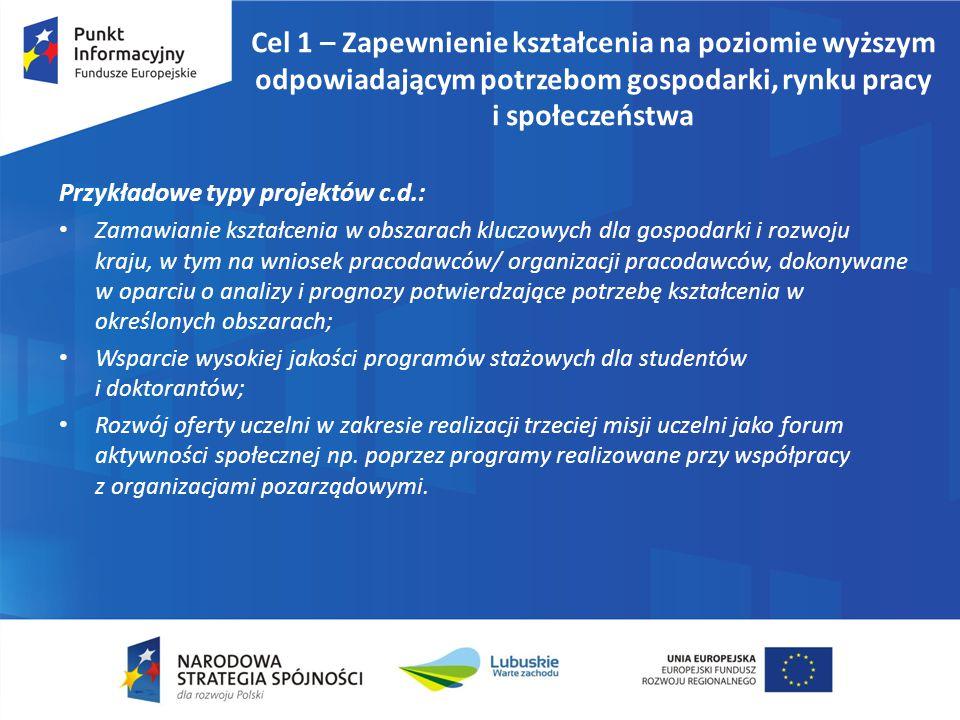 Cel 1 – Zapewnienie kształcenia na poziomie wyższym odpowiadającym potrzebom gospodarki, rynku pracy i społeczeństwa Przykładowe typy projektów c.d.: Zamawianie kształcenia w obszarach kluczowych dla gospodarki i rozwoju kraju, w tym na wniosek pracodawców/ organizacji pracodawców, dokonywane w oparciu o analizy i prognozy potwierdzające potrzebę kształcenia w określonych obszarach; Wsparcie wysokiej jakości programów stażowych dla studentów i doktorantów; Rozwój oferty uczelni w zakresie realizacji trzeciej misji uczelni jako forum aktywności społecznej np.