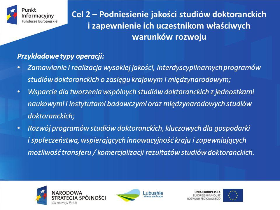 Cel 2 – Podniesienie jakości studiów doktoranckich i zapewnienie ich uczestnikom właściwych warunków rozwoju Przykładowe typy operacji: Zamawianie i r