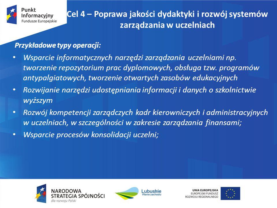 Cel 4 – Poprawa jakości dydaktyki i rozwój systemów zarządzania w uczelniach Przykładowe typy operacji: Wsparcie informatycznych narzędzi zarządzania uczelniami np.