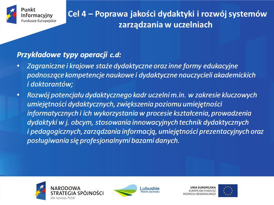 Cel 4 – Poprawa jakości dydaktyki i rozwój systemów zarządzania w uczelniach Przykładowe typy operacji c.d: Zagraniczne i krajowe staże dydaktyczne or