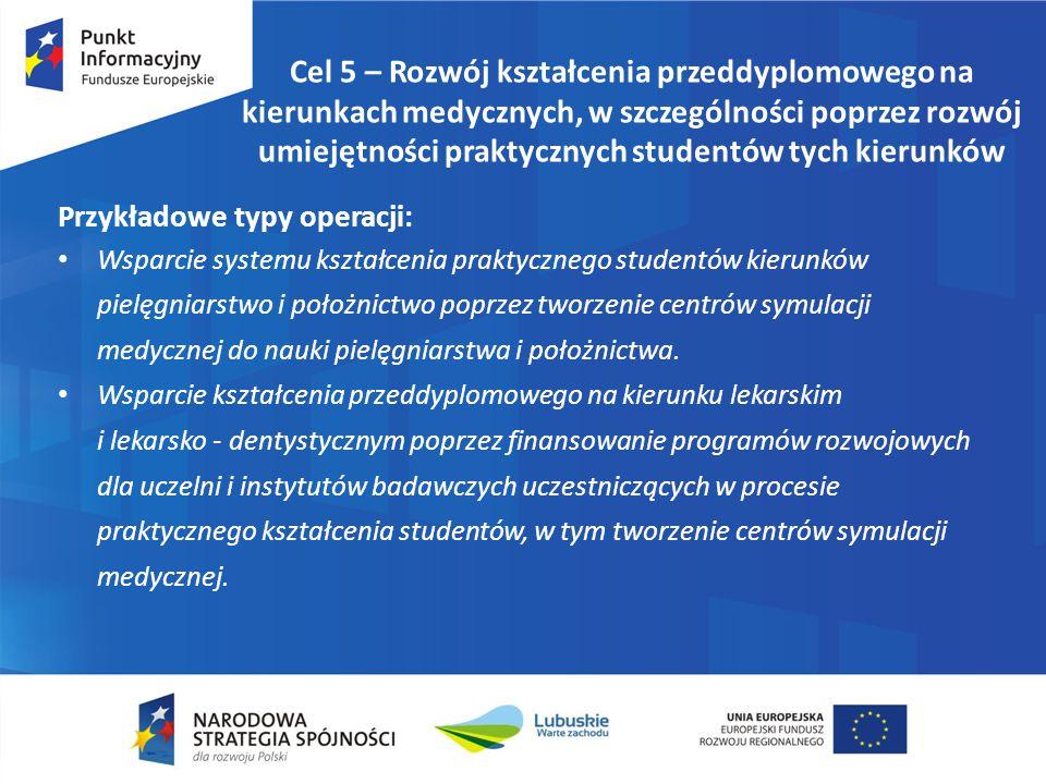 Cel 5 – Rozwój kształcenia przeddyplomowego na kierunkach medycznych, w szczególności poprzez rozwój umiejętności praktycznych studentów tych kierunkó