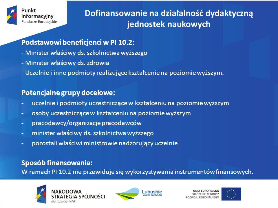 Dofinansowanie na działalność dydaktyczną jednostek naukowych Podstawowi beneficjenci w PI 10.2: - Minister właściwy ds. szkolnictwa wyższego - Minist