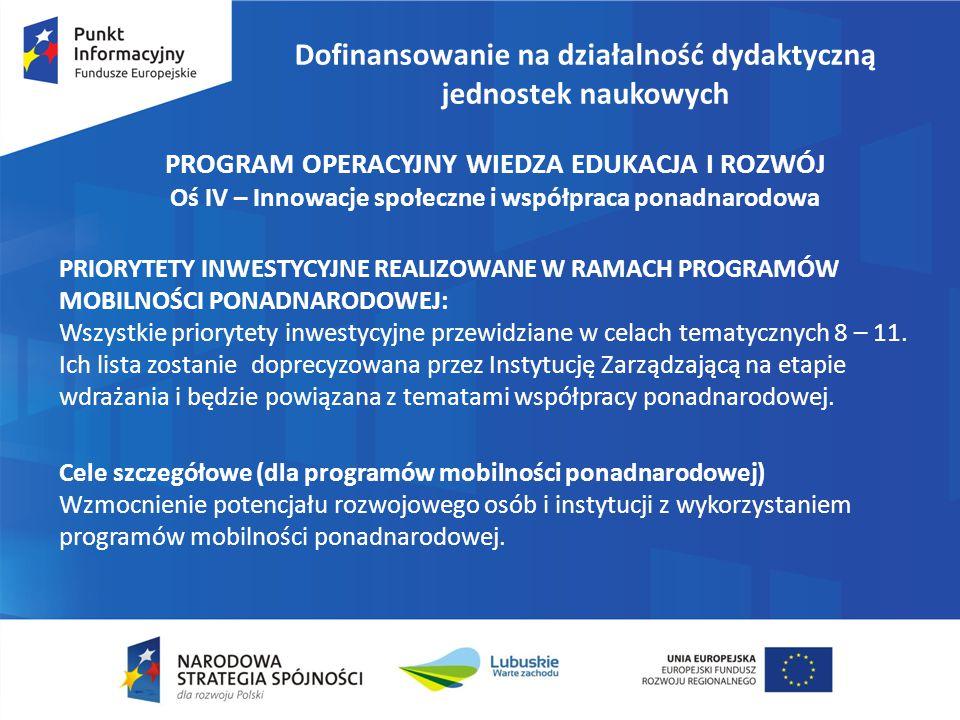 Dofinansowanie na działalność dydaktyczną jednostek naukowych PROGRAM OPERACYJNY WIEDZA EDUKACJA I ROZWÓJ Oś IV – Innowacje społeczne i współpraca pon