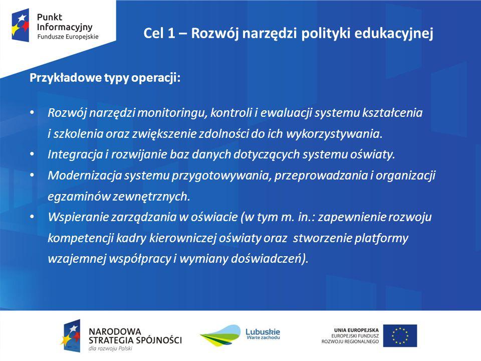 Cel 1 – Rozwój narzędzi polityki edukacyjnej Przykładowe typy operacji: Rozwój narzędzi monitoringu, kontroli i ewaluacji systemu kształcenia i szkole