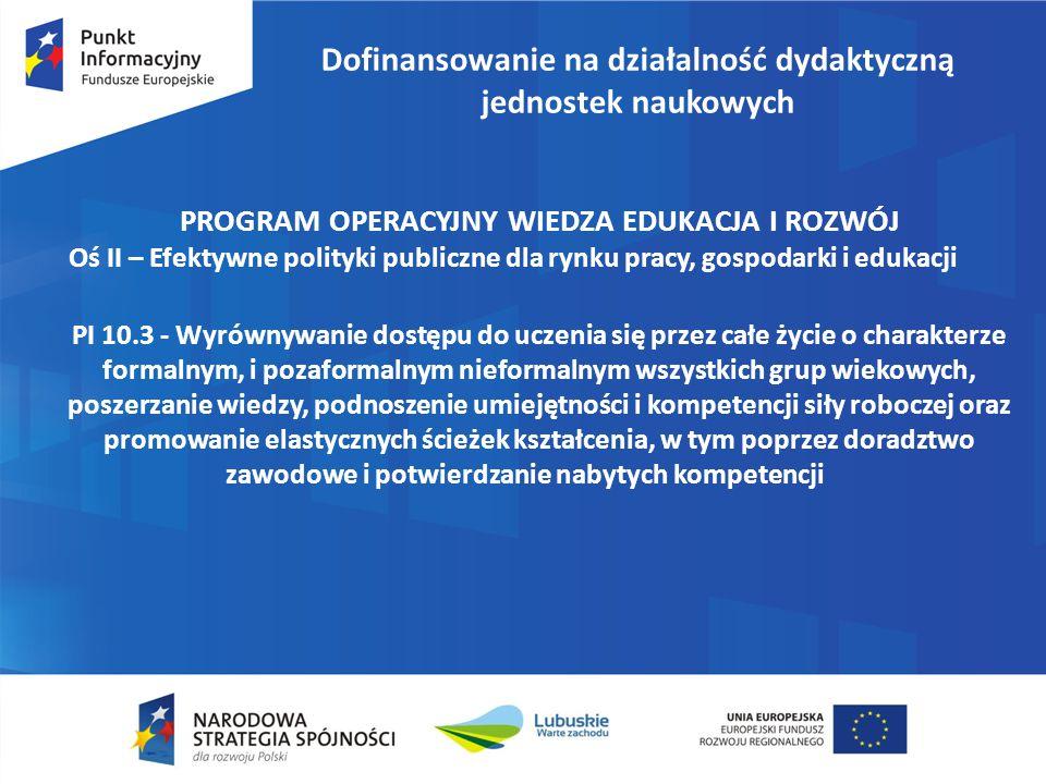 Dofinansowanie na działalność dydaktyczną jednostek naukowych PROGRAM OPERACYJNY WIEDZA EDUKACJA I ROZWÓJ Oś II – Efektywne polityki publiczne dla ryn