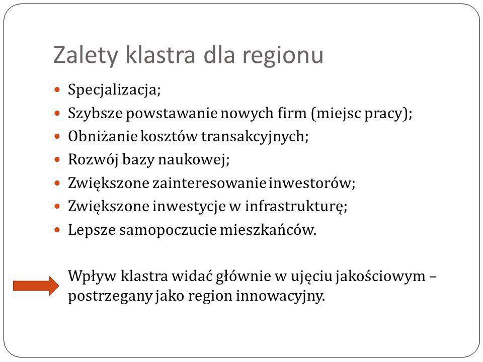Zalety klastra dla regionu Specjalizacja; Szybsze powstawanie nowych firm (miejsc pracy); Obniżanie kosztów transakcyjnych; Rozwój bazy naukowej; Zwię