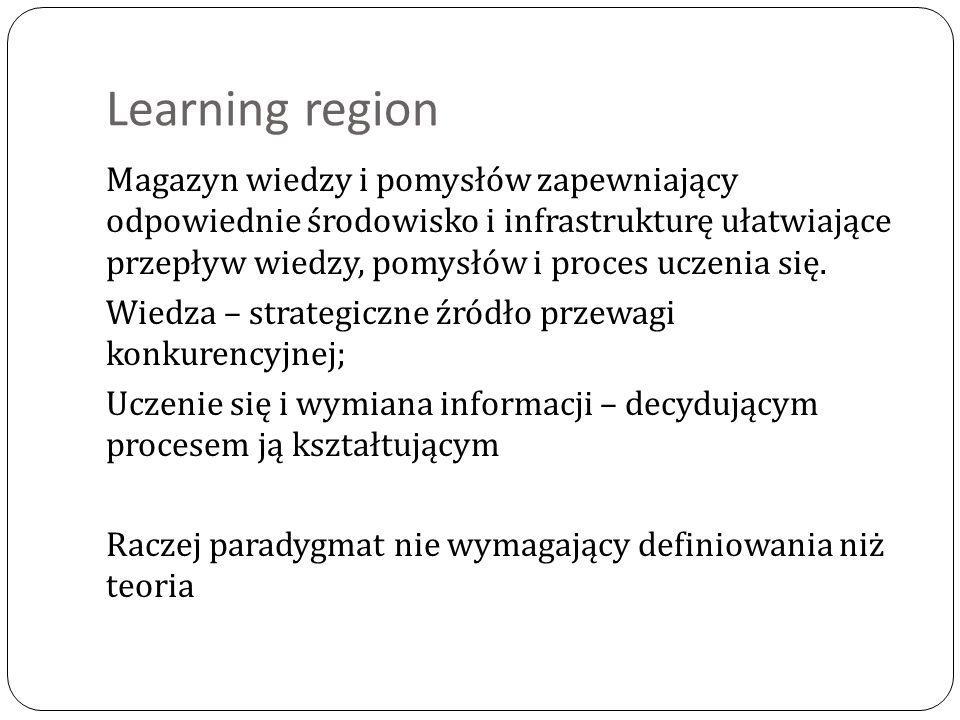 Learning region Magazyn wiedzy i pomysłów zapewniający odpowiednie środowisko i infrastrukturę ułatwiające przepływ wiedzy, pomysłów i proces uczenia się.