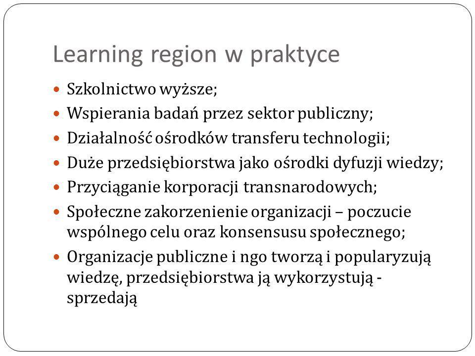 Learning region w praktyce Szkolnictwo wyższe; Wspierania badań przez sektor publiczny; Działalność ośrodków transferu technologii; Duże przedsiębiorstwa jako ośrodki dyfuzji wiedzy; Przyciąganie korporacji transnarodowych; Społeczne zakorzenienie organizacji – poczucie wspólnego celu oraz konsensusu społecznego; Organizacje publiczne i ngo tworzą i popularyzują wiedzę, przedsiębiorstwa ją wykorzystują - sprzedają