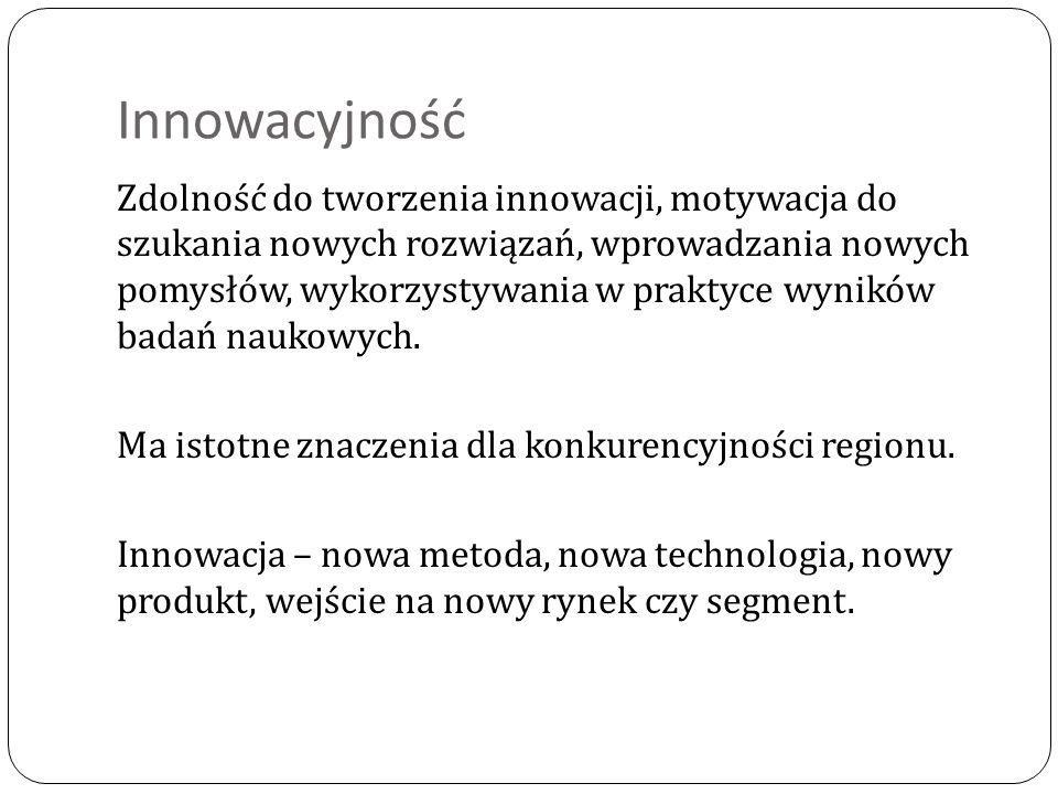 Innowacyjność Zdolność do tworzenia innowacji, motywacja do szukania nowych rozwiązań, wprowadzania nowych pomysłów, wykorzystywania w praktyce wynikó