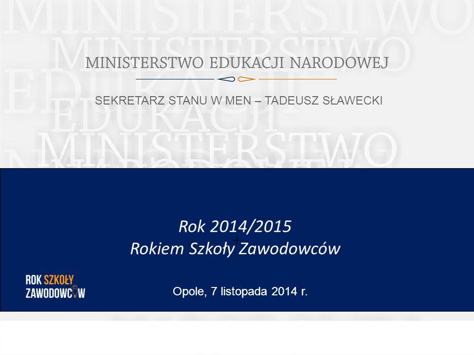 + Rok 2014/2015 Rokiem Szkoły Zawodowców Opole, 7 listopada 2014 r. SEKRETARZ STANU W MEN – TADEUSZ SŁAWECKI
