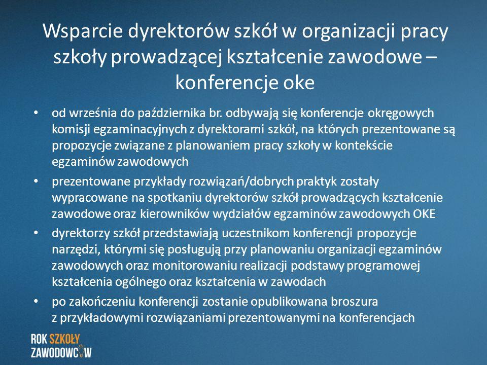Wsparcie dyrektorów szkół w organizacji pracy szkoły prowadzącej kształcenie zawodowe – konferencje oke od września do października br. odbywają się k