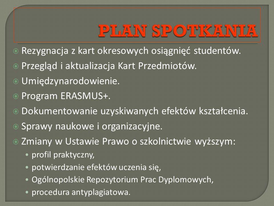  profil praktyczny: praktyki trwające 3 miesiące niezależnie od stopnia studiów;  potwierdzanie efektów uczenia się,  Ogólnopolskie Repozytorium Prac Dyplomowych,  procedura antyplagiatowa.