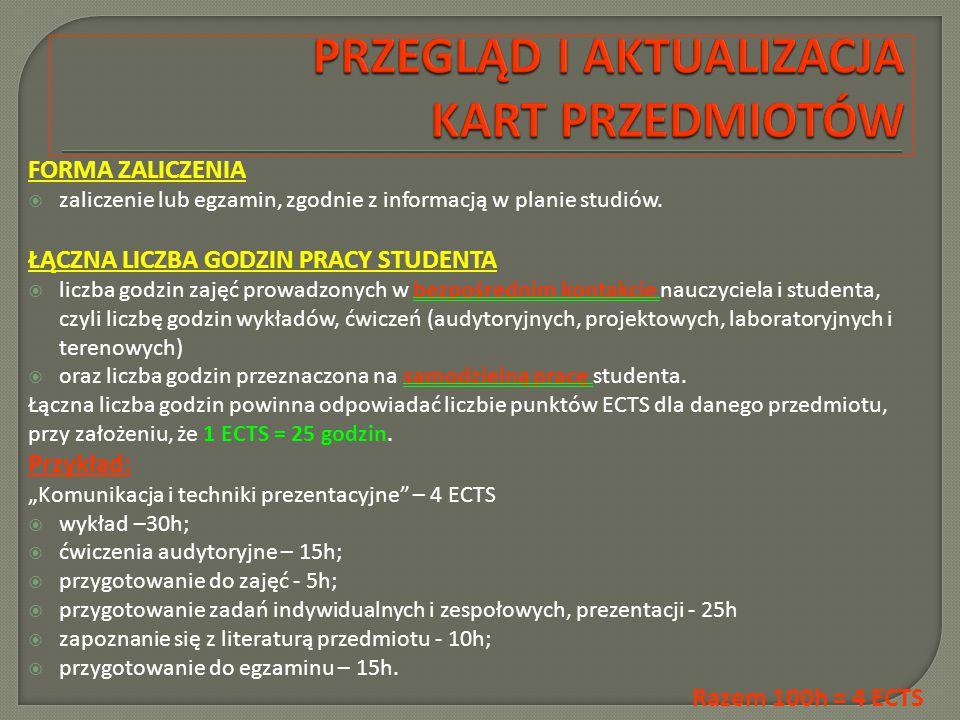 FORMA ZALICZENIA  zaliczenie lub egzamin, zgodnie z informacją w planie studiów.