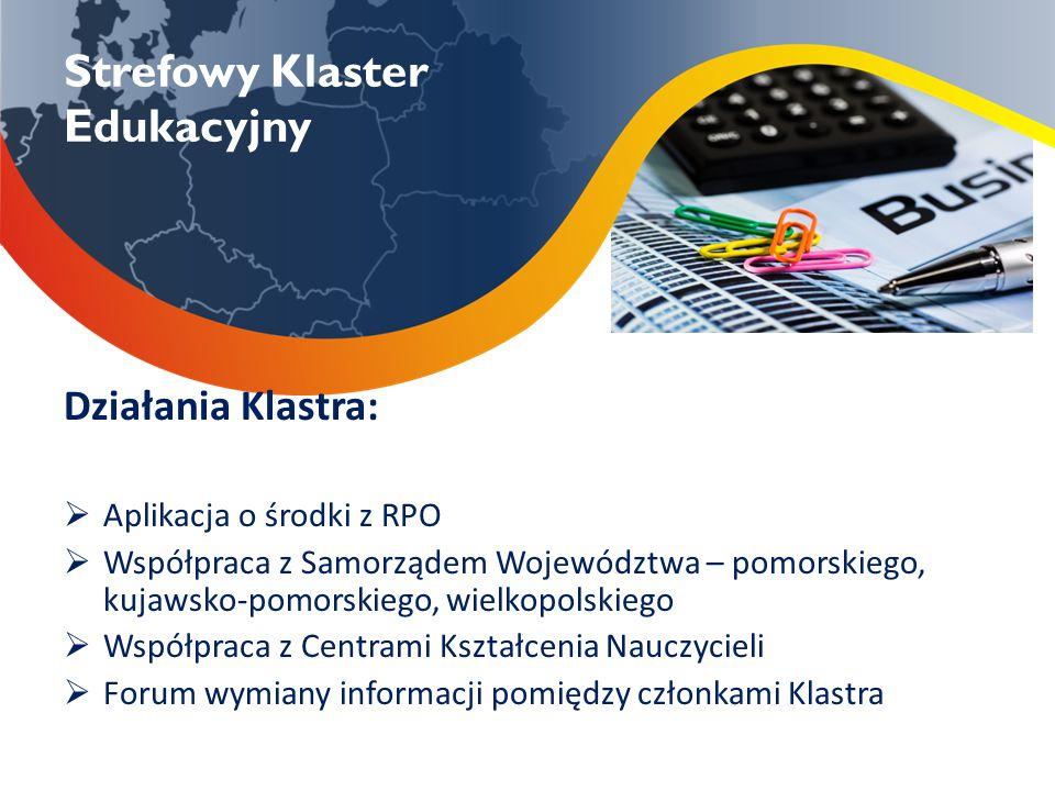 Strefowy Klaster Edukacyjny Działania Klastra:  Aplikacja o środki z RPO  Współpraca z Samorządem Województwa – pomorskiego, kujawsko-pomorskiego, w