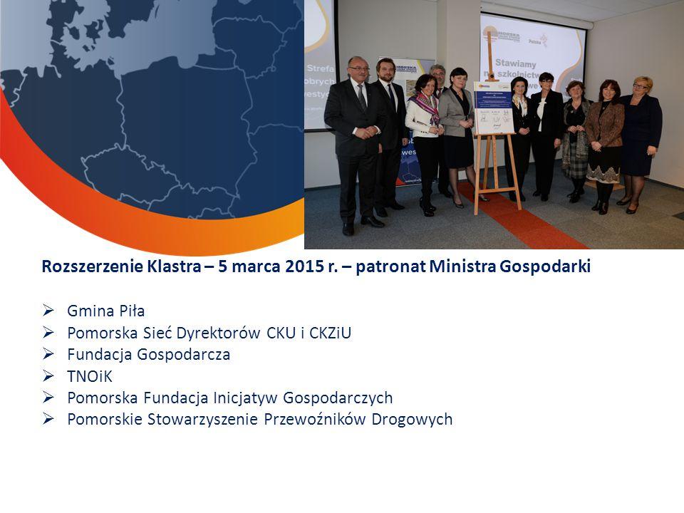 Rozszerzenie Klastra – 5 marca 2015 r. – patronat Ministra Gospodarki  Gmina Piła  Pomorska Sieć Dyrektorów CKU i CKZiU  Fundacja Gospodarcza  TNO