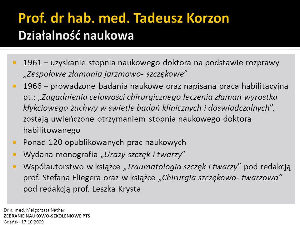 """ Traumatologia części twarzowej czaszki """"Prof."""