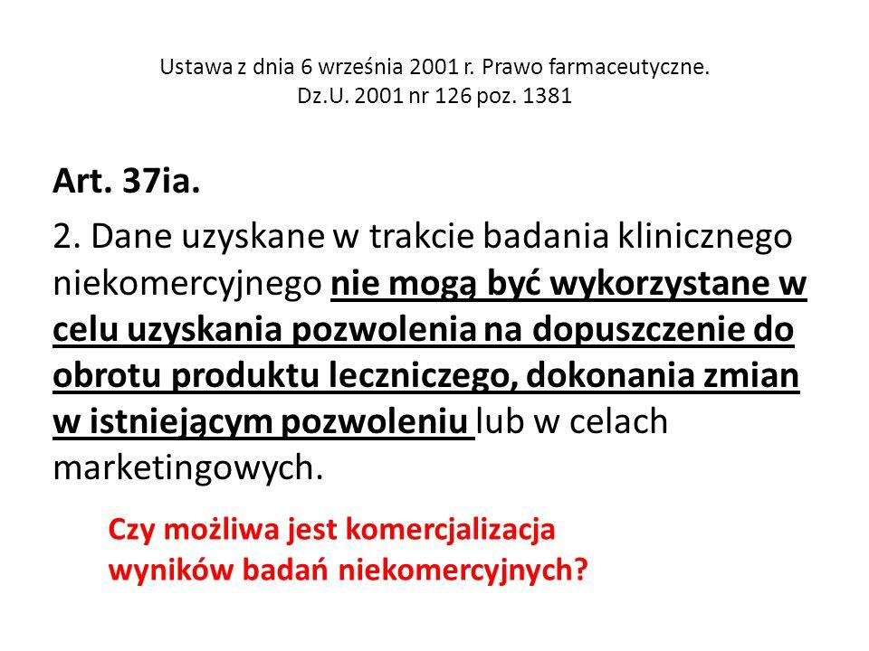Ustawa z dnia 6 września 2001 r. Prawo farmaceutyczne. Dz.U. 2001 nr 126 poz. 1381 Art. 37ia. 2. Dane uzyskane w trakcie badania klinicznego niekomerc