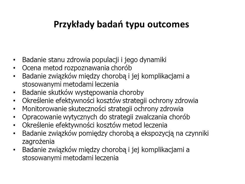 Badanie stanu zdrowia populacji i jego dynamiki Ocena metod rozpoznawania chorób Badanie związków między chorobą i jej komplikacjami a stosowanymi met