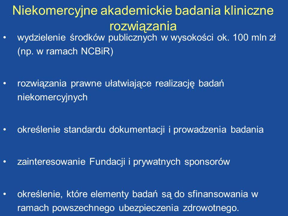 Niekomercyjne akademickie badania kliniczne rozwiązania wydzielenie środków publicznych w wysokości ok. 100 mln zł (np. w ramach NCBiR) rozwiązania pr