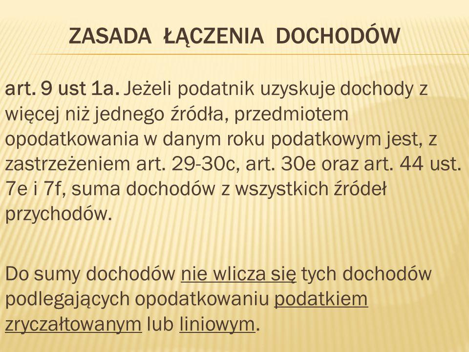 ZASADA ŁĄCZENIA DOCHODÓW art.9 ust 1a.