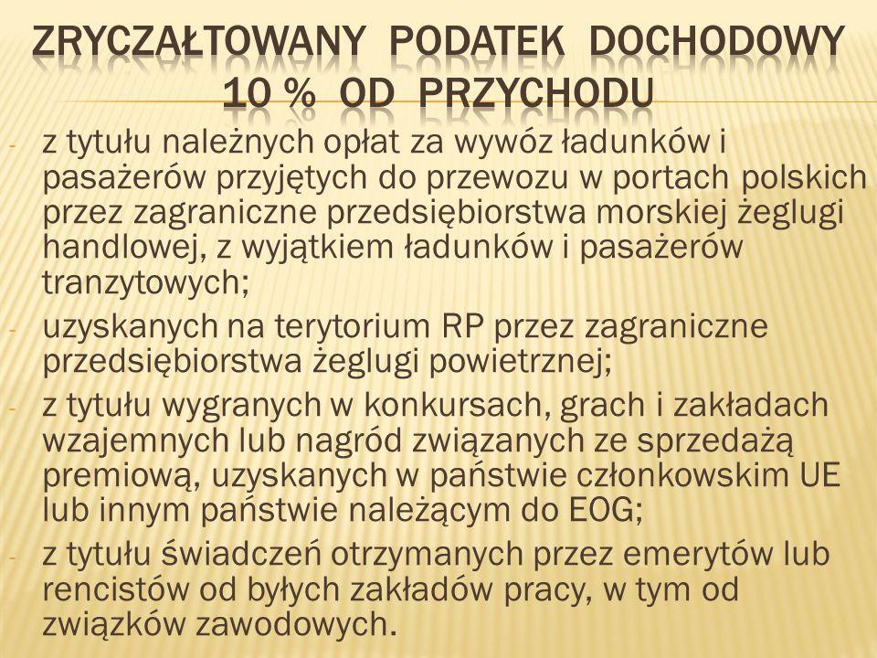 - z tytułu należnych opłat za wywóz ładunków i pasażerów przyjętych do przewozu w portach polskich przez zagraniczne przedsiębiorstwa morskiej żeglugi handlowej, z wyjątkiem ładunków i pasażerów tranzytowych; - uzyskanych na terytorium RP przez zagraniczne przedsiębiorstwa żeglugi powietrznej; - z tytułu wygranych w konkursach, grach i zakładach wzajemnych lub nagród związanych ze sprzedażą premiową, uzyskanych w państwie członkowskim UE lub innym państwie należącym do EOG; - z tytułu świadczeń otrzymanych przez emerytów lub rencistów od byłych zakładów pracy, w tym od związków zawodowych.