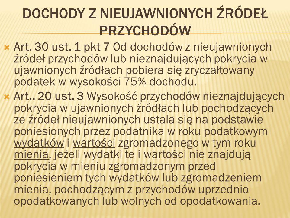 DOCHODY Z NIEUJAWNIONYCH ŹRÓDEŁ PRZYCHODÓW  Art.30 ust.