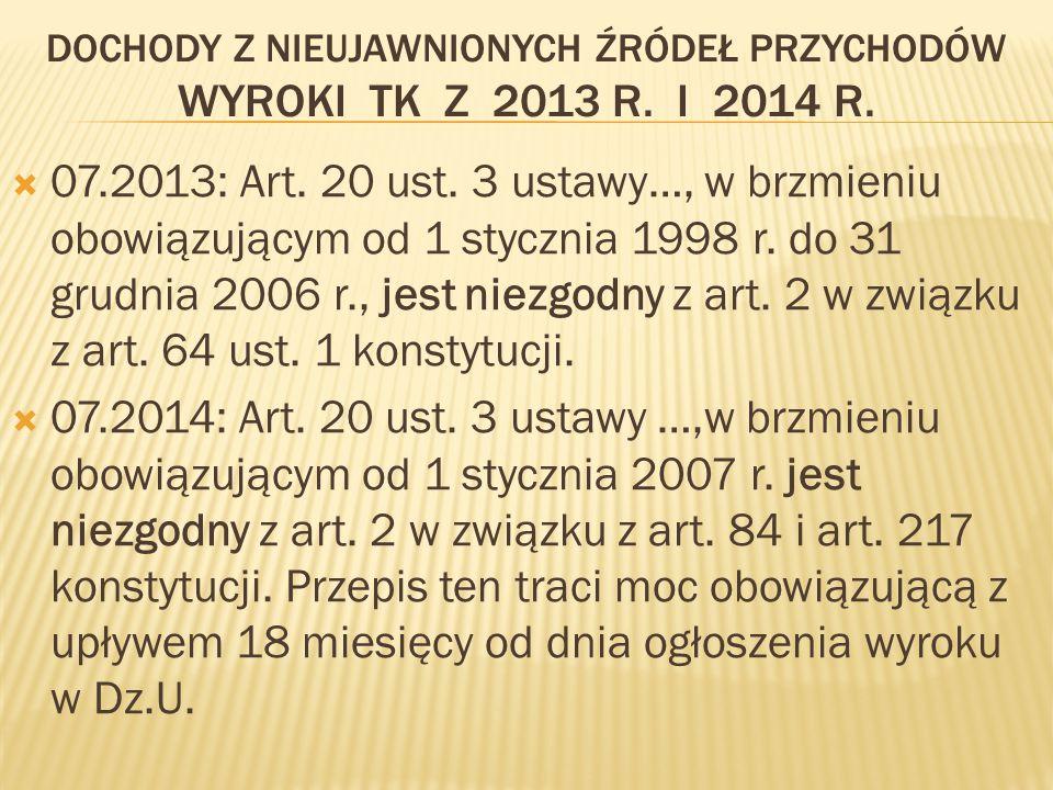 DOCHODY Z NIEUJAWNIONYCH ŹRÓDEŁ PRZYCHODÓW WYROKI TK Z 2013 R.