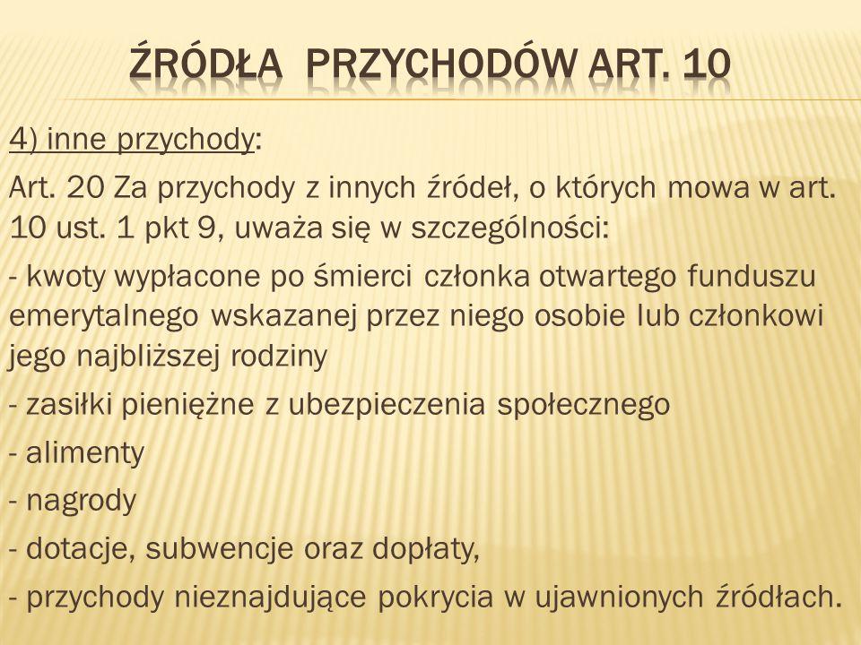 4) inne przychody: Art.20 Za przychody z innych źródeł, o których mowa w art.
