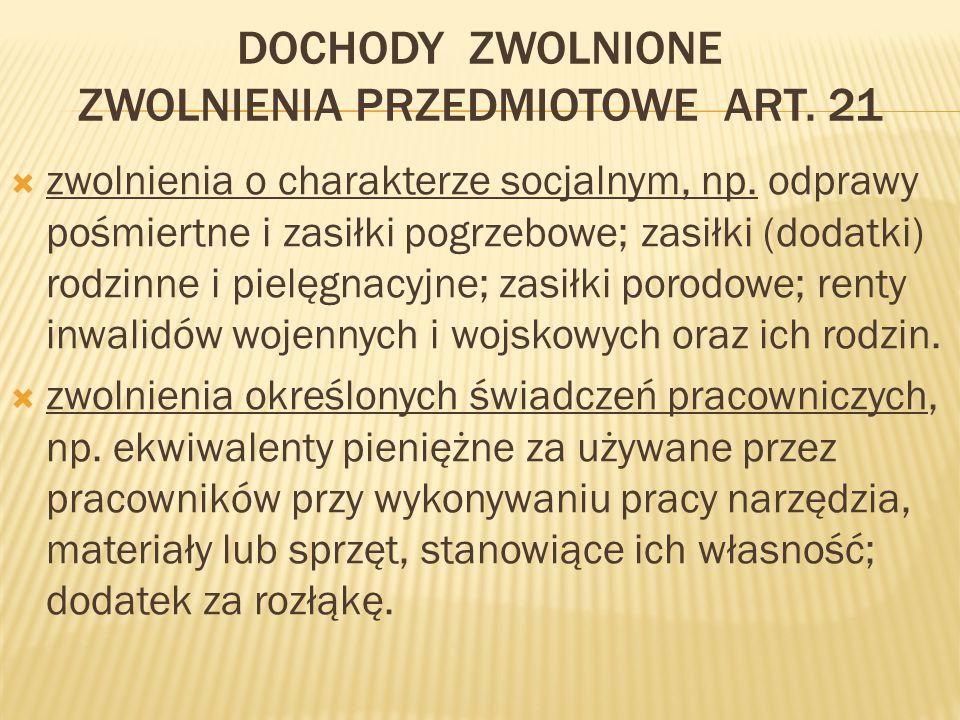 DOCHODY ZWOLNIONE ZWOLNIENIA PRZEDMIOTOWE ART.21  zwolnienia o charakterze socjalnym, np.