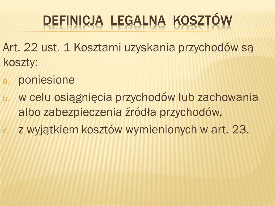 Art.22 ust. 1 Kosztami uzyskania przychodów są koszty: a.