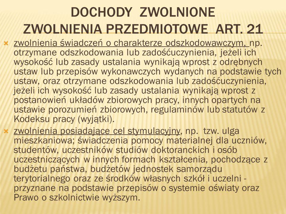 DOCHODY ZWOLNIONE ZWOLNIENIA PRZEDMIOTOWE ART.
