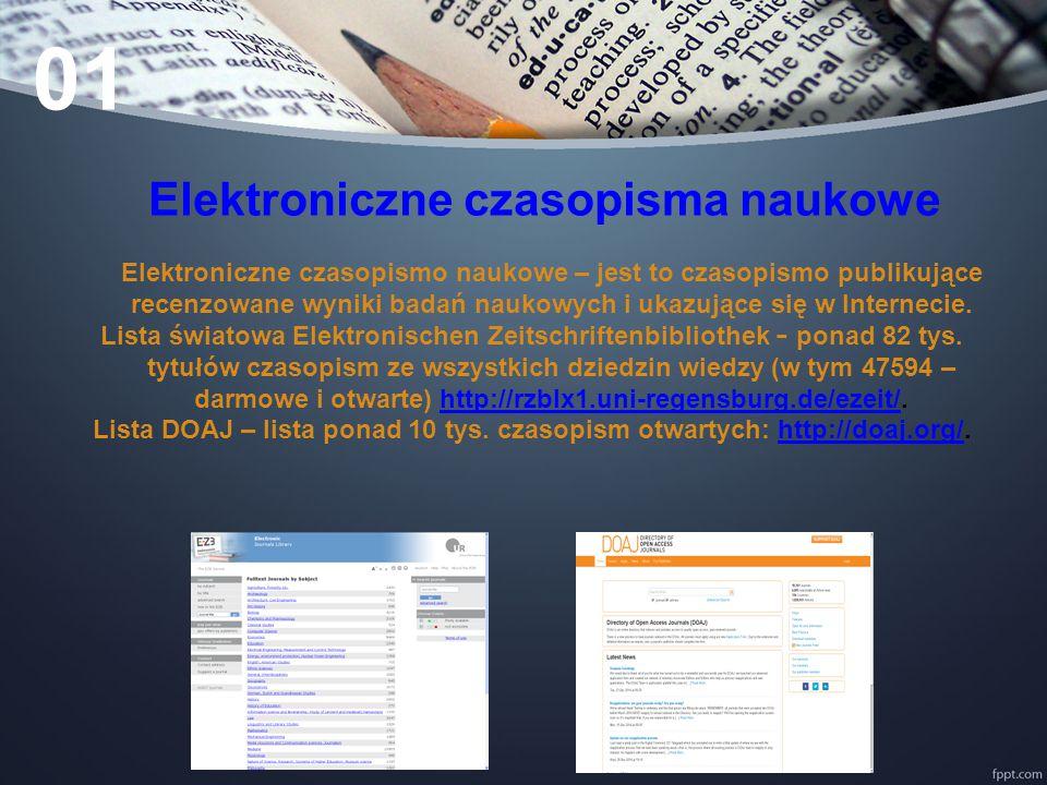 Elektroniczne czasopisma naukowe Elektroniczne czasopismo naukowe – jest to czasopismo publikujące recenzowane wyniki badań naukowych i ukazujące się w Internecie.