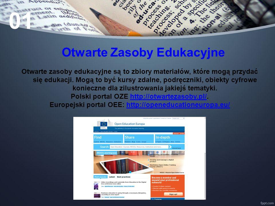 Otwarte Zasoby Edukacyjne Otwarte zasoby edukacyjne są to zbiory materiałów, które mogą przydać się edukacji.