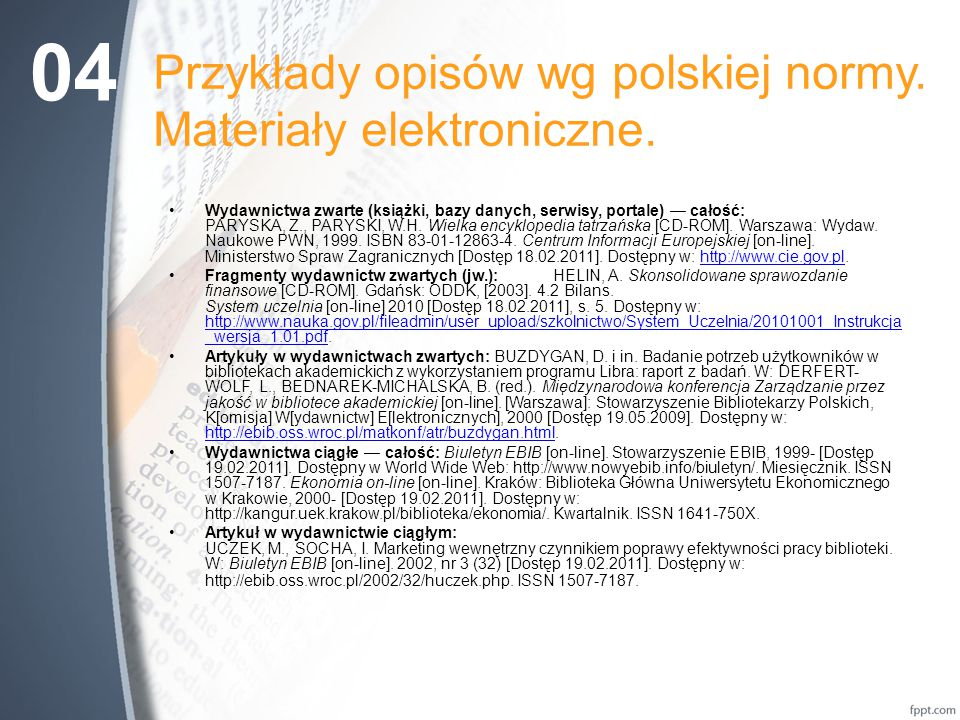 Przykłady opisów wg polskiej normy.Materiały elektroniczne.