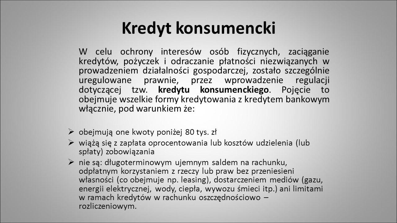 R EGULACJE PRAWNE Ustawa z dnia 29 sierpnia 1997r o Prawie Bankowym, rozdział 5- Kredyty i pożyczki pieniężne oraz zasady koncentracji zaangażowań Ustawa z dnia 12 maja 2011r o kredycie konsumenckim