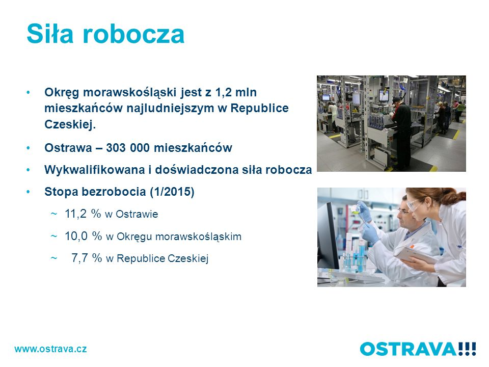 Siła robocza Okręg morawskośląski jest z 1,2 mln mieszkańców najludniejszym w Republice Czeskiej.