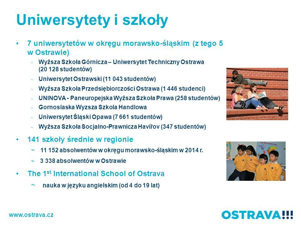 Uniwersytety i szkoły 7 uniwersytetów w okręgu morawsko-śląskim (z tego 5 w Ostrawie) ~ Wyższa Szkoła Górnicza – Uniwersytet Techniczny Ostrawa (20 128 studentów) ~ Uniwersytet Ostrawski (11 043 studentów) ~ Wyższa Szkoła Przedsiębiorczości Ostrawa (1 446 studenci) ~ UNINOVA - Paneuropejska Wyższa Szkoła Prawa (258 studentów) ~ Gornoslaska Wyzsza Szkola Handlowa ~ Uniwersytet Śląski Opawa (7 661 studentów) ~ Wyższa Szkoła Socjalno-Prawnicza Havířov (347 studentów) 141 szkoły średnie w regionie ~ 11 152 absolwentów w okręgu morawsko-śląskim w 2014 r.