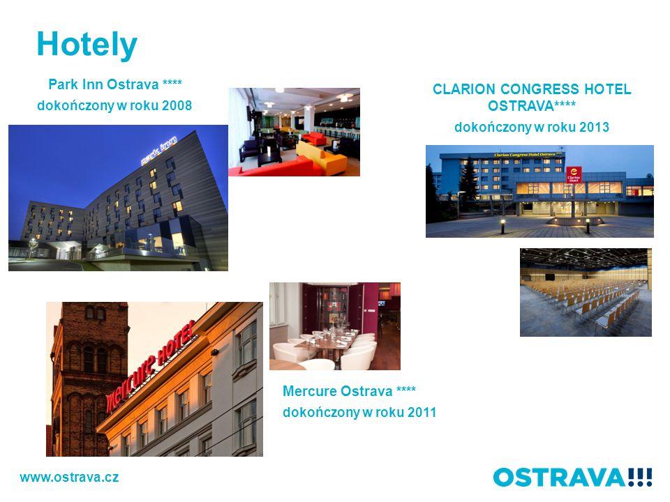 Hotely Park Inn Ostrava **** dokończony w roku 2008 Mercure Ostrava **** dokończony w roku 2011 CLARION CONGRESS HOTEL OSTRAVA**** dokończony w roku 2013 www.ostrava.cz