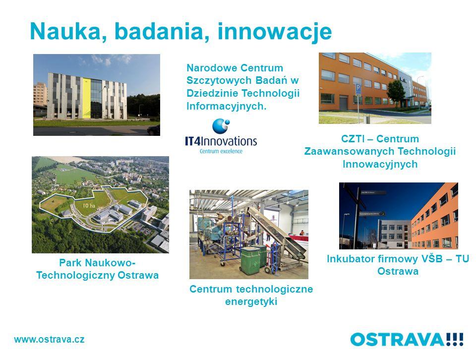 Nauka, badania, innowacje Park Naukowo- Technologiczny Ostrawa Narodowe Centrum Szczytowych Badań w Dziedzinie Technologii Informacyjnych.