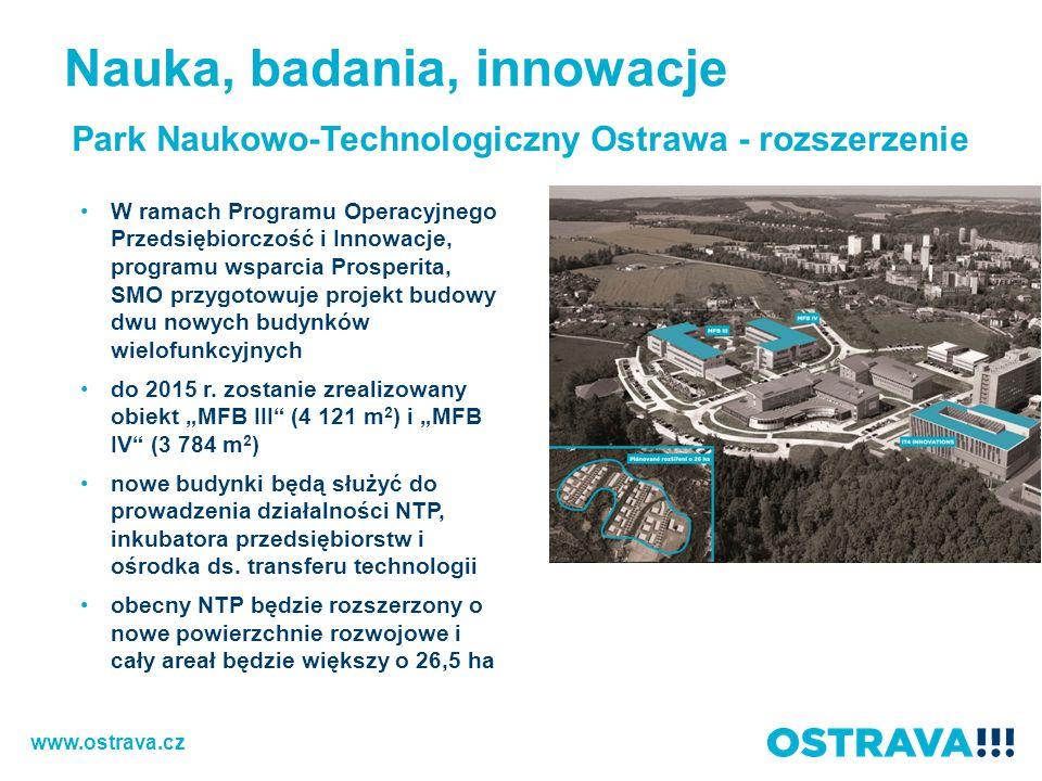 Park Naukowo-Technologiczny Ostrawa - rozszerzenie W ramach Programu Operacyjnego Przedsiębiorczość i Innowacje, programu wsparcia Prosperita, SMO przygotowuje projekt budowy dwu nowych budynków wielofunkcyjnych do 2015 r.