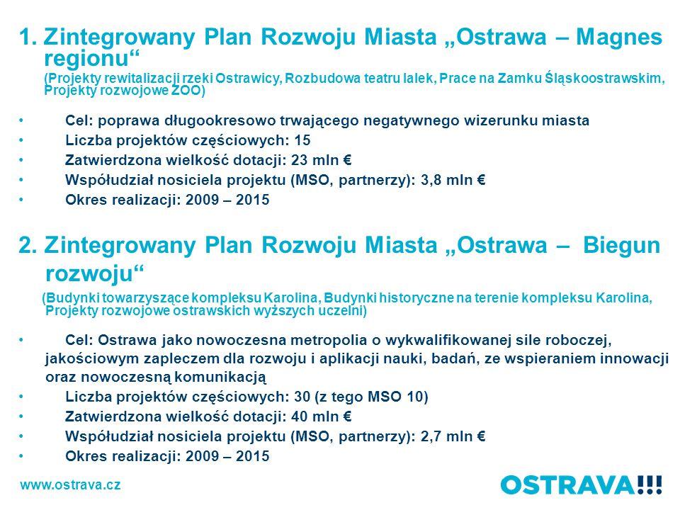 """1.Zintegrowany Plan Rozwoju Miasta """"Ostrawa – Magnes regionu (Projekty rewitalizacji rzeki Ostrawicy, Rozbudowa teatru lalek, Prace na Zamku Śląskoostrawskim, Projekty rozwojowe ZOO) Cel: poprawa długookresowo trwającego negatywnego wizerunku miasta Liczba projektów częściowych: 15 Zatwierdzona wielkość dotacji: 23 mln € Współudział nosiciela projektu (MSO, partnerzy): 3,8 mln € Okres realizacji: 2009 – 2015 2."""