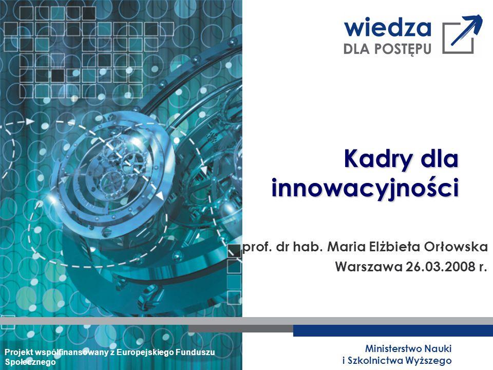 Ministerstwo Nauki i Szkolnictwa Wyższego Kadry dla innowacyjności Projekt współfinansowany z Europejskiego Funduszu Społecznego prof.
