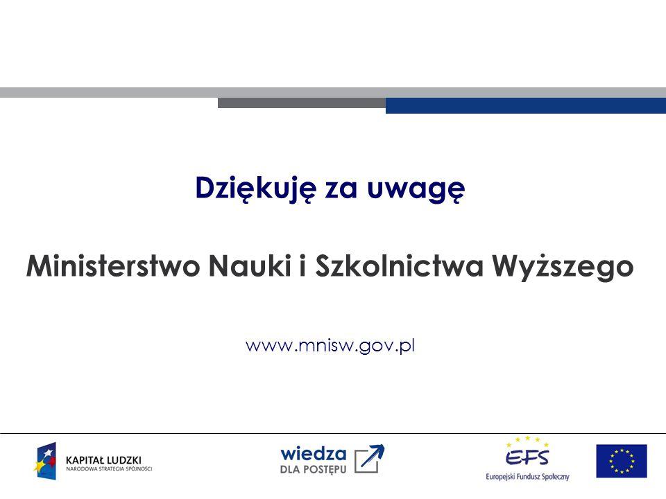 Dziękuję za uwagę Ministerstwo Nauki i Szkolnictwa Wyższego www.mnisw.gov.pl