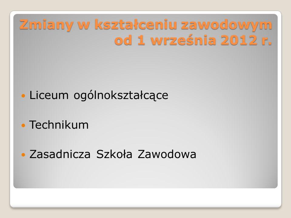 Zmiany w kształceniu zawodowym od 1 września 2012 r. Liceum ogólnokształcące Technikum Zasadnicza Szkoła Zawodowa