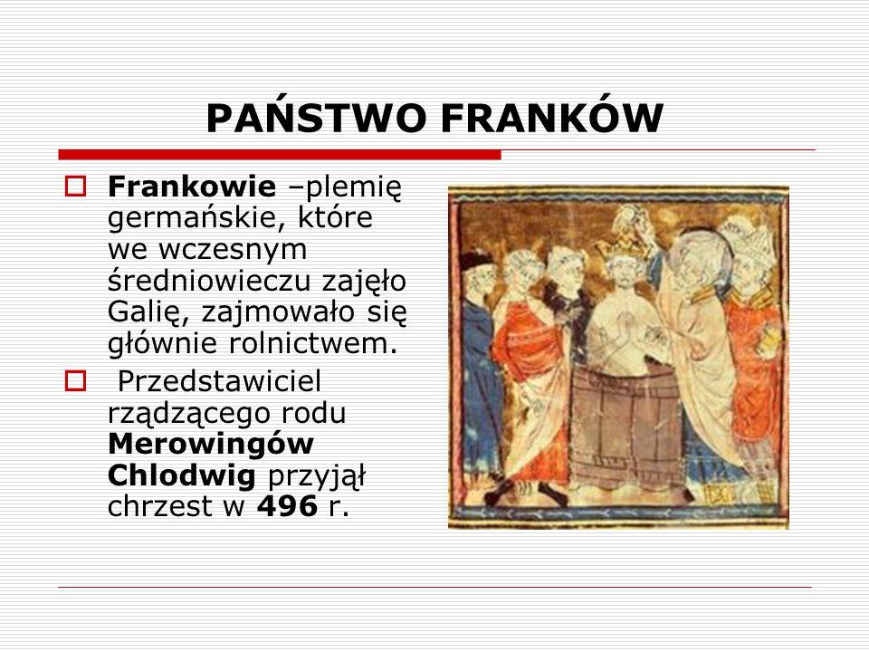 PAŃSTWO FRANKÓW  Frankowie –plemię germańskie, które we wczesnym średniowieczu zajęło Galię, zajmowało się głównie rolnictwem.  Przedstawiciel rządz