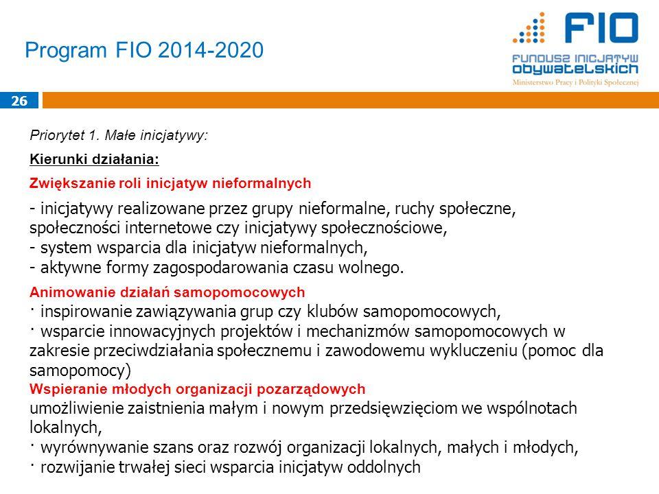 Program FIO 2014-2020 26 Priorytet 1.