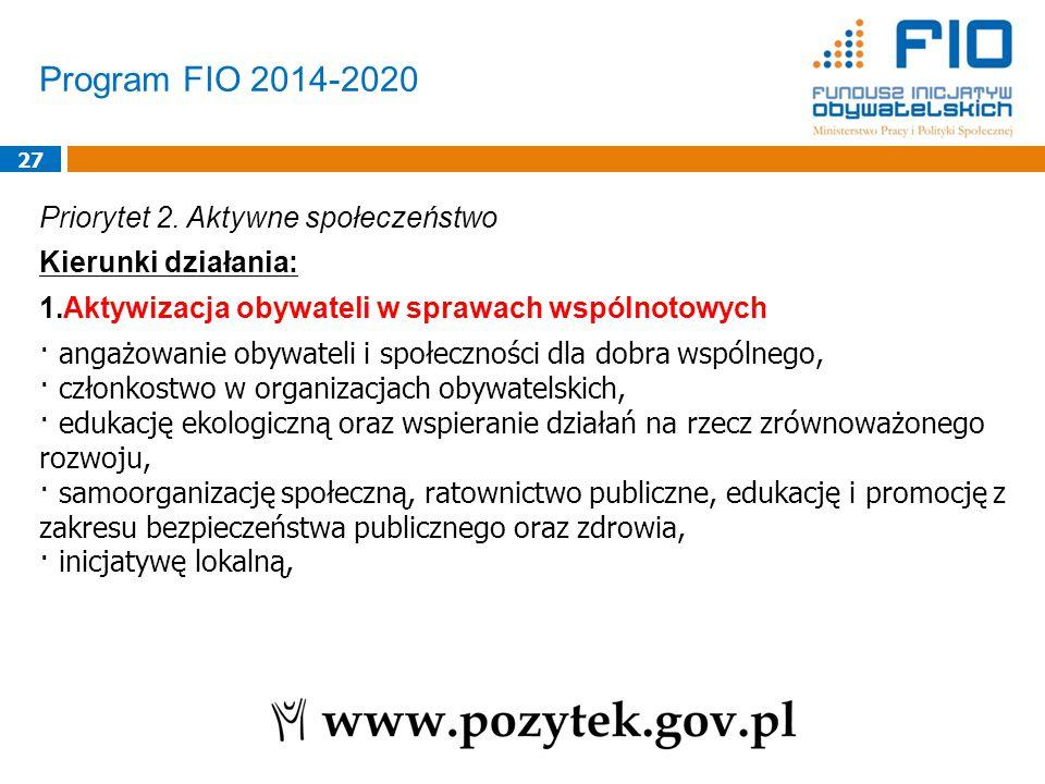 Program FIO 2014-2020 27 Priorytet 2.