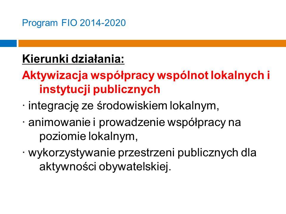 Program FIO 2014-2020 Kierunki działania: Aktywizacja współpracy wspólnot lokalnych i instytucji publicznych · integrację ze środowiskiem lokalnym, · animowanie i prowadzenie współpracy na poziomie lokalnym, · wykorzystywanie przestrzeni publicznych dla aktywności obywatelskiej.