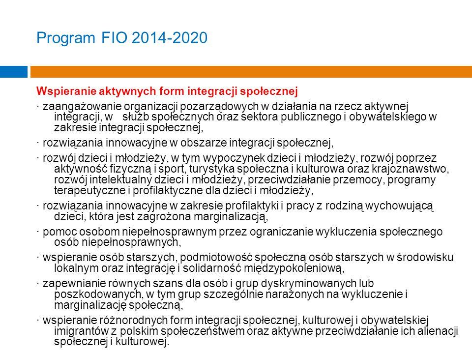Program FIO 2014-2020 Wspieranie aktywnych form integracji społecznej · zaangażowanie organizacji pozarządowych w działania na rzecz aktywnej integracji, w służb społecznych oraz sektora publicznego i obywatelskiego w zakresie integracji społecznej, · rozwiązania innowacyjne w obszarze integracji społecznej, · rozwój dzieci i młodzieży, w tym wypoczynek dzieci i młodzieży, rozwój poprzez aktywność fizyczną i sport, turystyka społeczna i kulturowa oraz krajoznawstwo, rozwój intelektualny dzieci i młodzieży, przeciwdziałanie przemocy, programy terapeutyczne i profilaktyczne dla dzieci i młodzieży, · rozwiązania innowacyjne w zakresie profilaktyki i pracy z rodziną wychowującą dzieci, która jest zagrożona marginalizacją, · pomoc osobom niepełnosprawnym przez ograniczanie wykluczenia społecznego osób niepełnosprawnych, · wspieranie osób starszych, podmiotowość społeczną osób starszych w środowisku lokalnym oraz integrację i solidarność międzypokoleniową, · zapewnianie równych szans dla osób i grup dyskryminowanych lub poszkodowanych, w tym grup szczególnie narażonych na wykluczenie i marginalizację społeczną, · wspieranie różnorodnych form integracji społecznej, kulturowej i obywatelskiej imigrantów z polskim społeczeństwem oraz aktywne przeciwdziałanie ich alienacji społecznej i kulturowej.